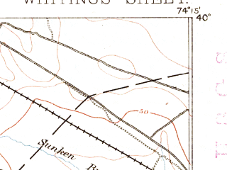 Reduced fragment of topographic map en--usgs--063k--064506--(1884)--N040-00_W074-30--N039-45_W074-15; towns and cities Holiday City-berkeley, Crestwood Village, Holiday Heights, Pine Ridge At Crestwood, Cedar Glen Lakes