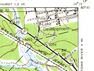 Reduced fragment of topographic map en--usgs--063k--064506--(1942)--N040-00_W074-30--N039-45_W074-15; towns and cities Holiday City-berkeley, Crestwood Village, Holiday Heights, Pine Ridge At Crestwood, Cedar Glen Lakes