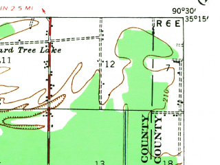 Reduced fragment of topographic map en--usgs--063k--064509--(1940)--N035-15_W090-45--N035-00_W090-30; towns and cities Madison, Widener