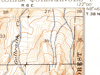 Reduced fragment of topographic map en--usgs--063k--064520--(1921)--N048-45_W122-15--N048-30_W122-00; towns and cities Sedro-woolley, Lyman