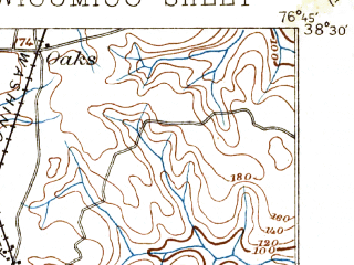 Reduced fragment of topographic map en--usgs--063k--064522--(1894)--N038-30_W077-00--N038-15_W076-45; towns and cities Charlotte Hall, Colonial Beach