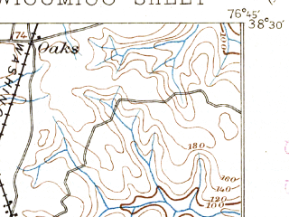 Reduced fragment of topographic map en--usgs--063k--064522--(1895)--N038-30_W077-00--N038-15_W076-45; towns and cities Charlotte Hall, Colonial Beach