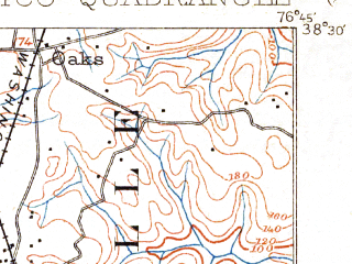 Reduced fragment of topographic map en--usgs--063k--064522--(1902)--N038-30_W077-00--N038-15_W076-45; towns and cities Charlotte Hall, Colonial Beach