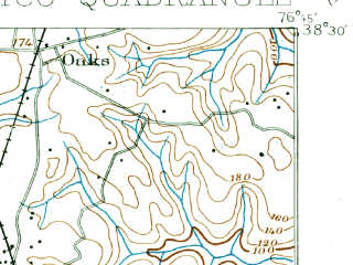 Reduced fragment of topographic map en--usgs--063k--064522--(1911)--N038-30_W077-00--N038-15_W076-45; towns and cities Charlotte Hall, Colonial Beach