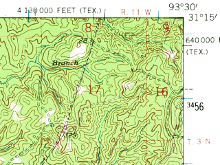 Reduced fragment of topographic map en--usgs--063k--064525--(1954)--N031-15_W093-45--N031-00_W093-30