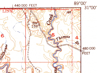 Reduced fragment of topographic map en--usgs--063k--064528--(1949)--N031-00_W089-15--N030-45_W089-00 in area of Flint Creek Reservoir; towns and cities Wiggins
