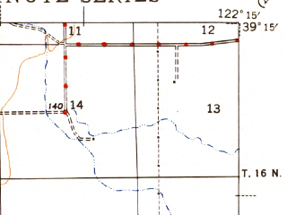 Reduced fragment of topographic map en--usgs--063k--064530--(1944)--N039-15_W122-30--N039-00_W122-15