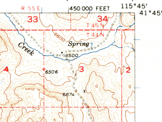 Reduced fragment of topographic map en--usgs--063k--064534--(1956)--N041-45_W116-00--N041-30_W115-45 in area of Wild Horse Reservoir