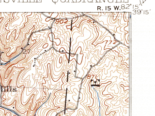 Reduced fragment of topographic map en--usgs--063k--064547--(1905)--N039-15_W082-30--N039-00_W082-15; towns and cities Mcarthur, Wilkesville