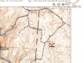 Reduced fragment of topographic map en--usgs--063k--064547--(1908)--N039-15_W082-30--N039-00_W082-15; towns and cities Mcarthur, Wilkesville