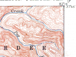 Reduced fragment of topographic map en--usgs--063k--064558--(1915)--N037-45_W082-30--N037-30_W082-15; towns and cities Williamson, Chattaroy