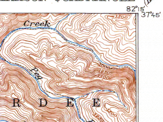 Reduced fragment of topographic map en--usgs--063k--064558--(1918)--N037-45_W082-30--N037-30_W082-15; towns and cities Chattaroy, Williamson