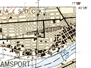 Reduced fragment of topographic map en--usgs--063k--064560--(1944)--N041-15_W077-15--N041-00_W077-00; towns and cities Williamsport, South Williamsport, Duboistown