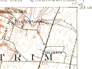 Reduced fragment of topographic map en--usgs--063k--064561--(1912)--N039-45_W078-00--N039-30_W077-45; towns and cities Halfway, Clear Spring, Hedgesville, Williamsport