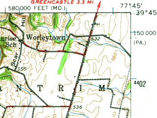 Reduced fragment of topographic map en--usgs--063k--064561--(1944)--N039-45_W078-00--N039-30_W077-45; towns and cities Halfway, Clear Spring, Hedgesville, Williamsport