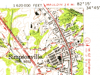 Reduced fragment of topographic map en--usgs--063k--064563--(1957)--N034-45_W082-30--N034-30_W082-15; towns and cities Simpsonville, Belton, Golden Grove, Pelzer