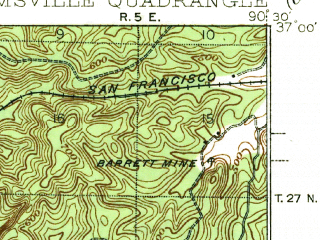 Reduced fragment of topographic map en--usgs--063k--064564--(1940)--N037-00_W090-45--N036-45_W090-30; towns and cities Ellsinore, Williamsville