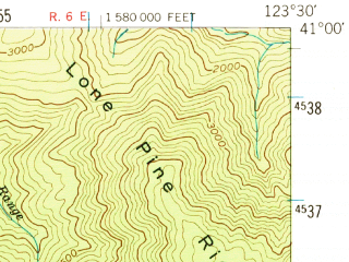 Reduced fragment of topographic map en--usgs--063k--064574--(1952)--N041-00_W123-45--N040-45_W123-30; towns and cities Willow Creek