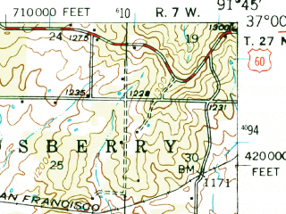 Reduced fragment of topographic map en--usgs--063k--064579--(1945)--N037-00_W092-00--N036-45_W091-45; towns and cities Willow Springs