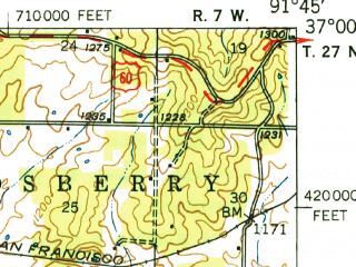 Reduced fragment of topographic map en--usgs--063k--064579--(1948)--N037-00_W092-00--N036-45_W091-45; towns and cities Willow Springs