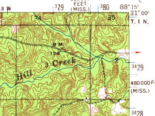 Reduced fragment of topographic map en--usgs--063k--064584--(1942)--N031-00_W088-30--N030-45_W088-15; towns and cities Wilmer
