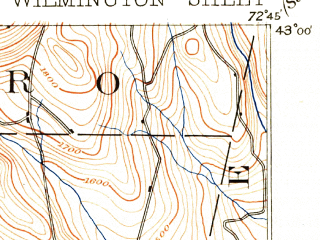 Reduced fragment of topographic map en--usgs--063k--064585--(1899)--N043-00_W073-00--N042-45_W072-45 in area of Harriman Reservoir; towns and cities Jacksonville