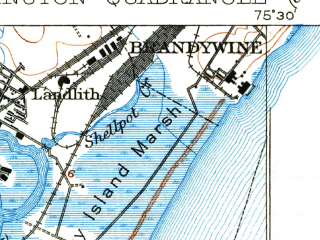 Reduced fragment of topographic map en--usgs--063k--064586--(1906)--N039-45_W075-45--N039-30_W075-30; towns and cities Wilmington, Pennsville, Brookside, Pike Creek, Wilmington Manor