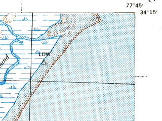 Reduced fragment of topographic map en--usgs--063k--064587--(1942)--N034-15_W078-00--N034-00_W077-45; towns and cities Wilmington, Seagate, Masonboro, Silver Lake, Windemere