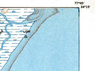 Reduced fragment of topographic map en--usgs--063k--064587--(1948)--N034-15_W078-00--N034-00_W077-45; towns and cities Wilmington, Masonboro, Seagate, Wrightsville Beach, Belville