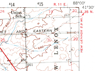 Reduced fragment of topographic map en--usgs--063k--064588--(1954)--N041-30_W088-15--N041-15_W088-00; towns and cities Preston Heights, Symerton, Wilmington