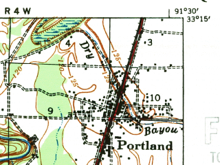 Reduced fragment of topographic map en--usgs--063k--064591--(1935)--N033-15_W091-45--N033-00_W091-30; towns and cities Parkdale, Portland, Wilmot