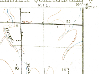 Reduced fragment of topographic map en--usgs--063k--064607--(1918)--N040-15_W085-00--N040-00_W084-45; towns and cities Winchester, Union City, Lynn, Saratoga