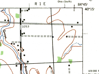 Reduced fragment of topographic map en--usgs--063k--064607--(1943)--N040-15_W085-00--N040-00_W084-45; towns and cities Winchester, Union City, Lynn, Saratoga