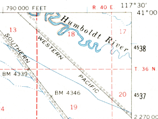 Reduced fragment of topographic map en--usgs--063k--064629--(1958)--N041-00_W117-45--N040-45_W117-30; towns and cities Winnemucca