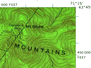 Reduced fragment of topographic map en--usgs--063k--064632--(1956)--N043-45_W071-30--N043-30_W071-15; towns and cities Laconia
