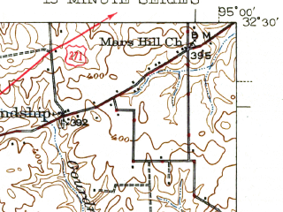 Reduced fragment of topographic map en--usgs--063k--064636--(1943)--N032-30_W095-15--N032-15_W095-00; towns and cities New Chapel Hill, Winona