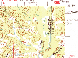 Reduced fragment of topographic map en--usgs--063k--064637--(1968)--N033-30_W089-45--N033-15_W089-30; towns and cities Winona, Kilmichael