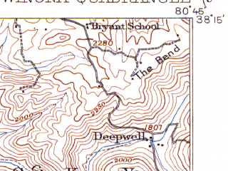 Reduced fragment of topographic map en--usgs--063k--064638--(1916)--N038-15_W081-00--N038-00_W080-45 in area of Gauley