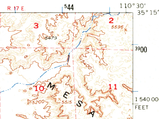 Reduced fragment of topographic map en--usgs--063k--064641--(1954)--N035-15_W110-45--N035-00_W110-30; towns and cities Winslow