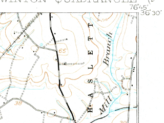 Reduced fragment of topographic map en--usgs--063k--064653--(1908)--N036-30_W077-00--N036-15_W076-45; towns and cities Ahoskie, Cofield, Gatesville