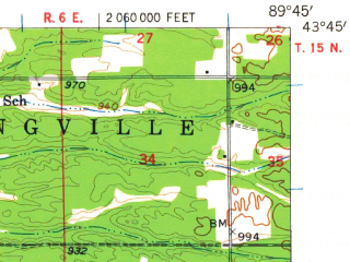 Reduced fragment of topographic map en--usgs--063k--064656--(1957)--N043-45_W090-00--N043-30_W089-45 in area of Lake Delton; towns and cities Reedsburg, Lake Delton, Lyndon Station, Wisconsin Dells