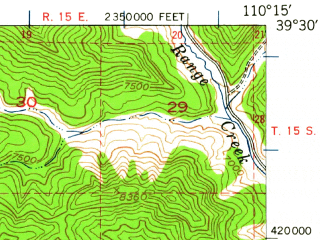 Reduced fragment of topographic map en--usgs--063k--064709--(1948)--N039-30_W110-30--N039-15_W110-15