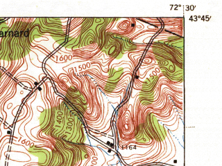 Reduced fragment of topographic map en--usgs--063k--064711--(1943)--N043-45_W072-45--N043-30_W072-30; towns and cities Woodstock