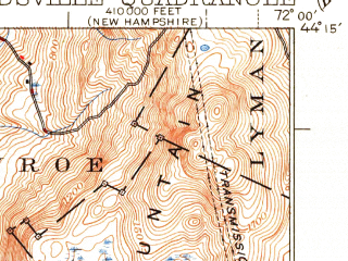 Reduced fragment of topographic map en--usgs--063k--064713--(1941)--N044-15_W072-15--N044-00_W072-00; towns and cities Newbury, Wells River, Woodsville