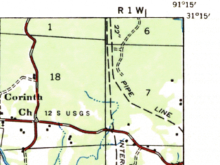 Reduced fragment of topographic map en--usgs--063k--064717--(1936)--N031-15_W091-30--N031-00_W091-15; towns and cities Woodville