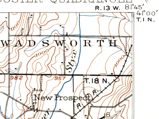 Reduced fragment of topographic map en--usgs--063k--064722--(1901)--N041-00_W082-00--N040-45_W081-45; towns and cities Wooster, Orrville, Rittman, Burbank, Creston
