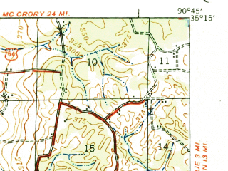 Reduced fragment of topographic map en--usgs--063k--064738--(1939)--N035-15_W091-00--N035-00_W090-45; towns and cities Forrest City, Wynne, Colt, Caldwell