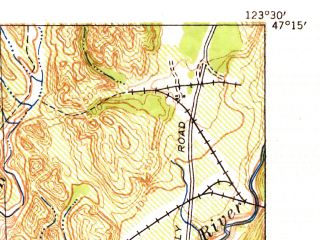 Reduced fragment of topographic map en--usgs--063k--064740--(1941)--N047-15_W123-45--N047-00_W123-30; towns and cities Montesano
