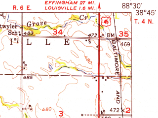 Reduced fragment of topographic map en--usgs--063k--064745--(1952)--N038-45_W088-45--N038-30_W088-30 in area of Sam Dale Lake; towns and cities Johnsonville, Xenia