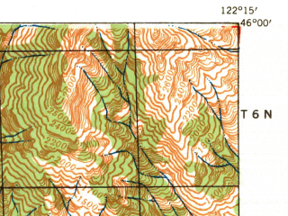Reduced fragment of topographic map en--usgs--063k--064747--(1941)--N046-00_W122-30--N045-45_W122-15; towns and cities Yacolt